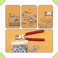 "Hog Ring Pliers & 50 3/8"" Hog Rings tags sausage casing traps fences doll repair"