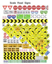 Diorama Road Signs 1/64th HO Scale Slot Car Waterslide Decals