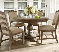 STOCKTON-5 pieces European Cottage Round Oval Solid Dining Room Table Chairs Set
