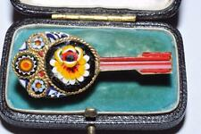 FINE VINTAGE MANDOLIN SHAPED MICRO MOSAIC FLOWER BROOCH