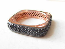 Turkish 925 Sterling Silver Black Zircon Micro Pave Setting Ladies' Ring Size 6