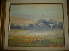ESTATE ORIG WEST TEXAS WB Dub Franklin OIL PAINTING LANDSCAPE Framed Windmill