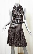 ALAIA Womens Black+Beige Sleeveless Top Blouse+Pleated Skirt Outfit Set 36/4 NEW
