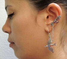 RF SILVER Flying Bird Arrow Chain Cuff Earring Single Hook Stud Earring Jewelry