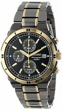 New Seiko Men's Two Tone Alarm Chronograph Watch SNAA30