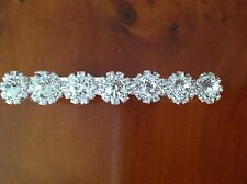 Silver Plate diamante flower hair clip.barrette. wedding bridal slide grip.