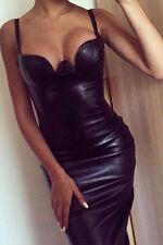 WOMENS BLACK DRESS PVC WET LOOK FAUX LEATHER BODYCON CELEB SIZE 12 & 14