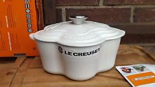 LE CREUSET CAST IRON 2 QT FLOWER COCOTTE MATTE SPATULA SPOON COTTON WHITE S KNOB
