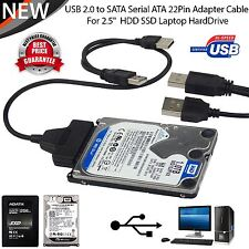 """External HDD SSD Hard Disk Drive Adapter USB To SATA 2.5"""" Converter Lead Cable"""