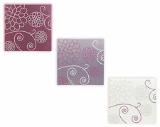 Barton Set Of 3 Canvas Wall Art Pictures Faux Silk Embroidered Modern Chic Panel