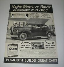 Magazine Print Ad 1940 Automobile Plymouth Coupe $645 You're Bound to Profit