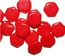 Red Flat Hexagon Czech Pressed Glass Beads 10mm (pack of 16))