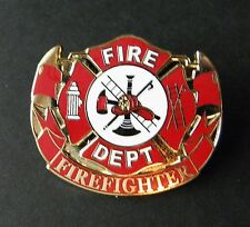 FIREFIGHTER FIRE DEPT LARGE MEDALLION WREATH JACKET HAT PIN BADGE 1.5 INCHES
