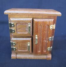 Vintage Miniature Doll Furniture Wooden ICEBOX/Refrigerator Unmarked Brown Nice!