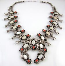 Huge Navajo Sterling Silver Mother of Pearl Coral Squash Blossom Necklace│RS AXX