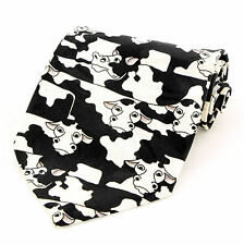New Dairy Cows Mens Necktie Holstein Cow Milk Black White Farm Animal Neck Tie