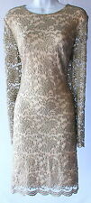 Ralph Lauren lace long sleeves mother of the bride taupe champagne dress new