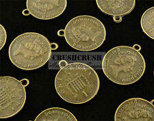 Free Shipping - 15pcs 23mm Flat Round Coin Queen Penny Charms Pendants PND-508