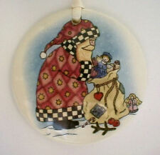 COUNTRY SANTA SCENE WITH TOYBAG  ROUND BASKET TIE ON-NEW-SHOP STORESALE TODAY