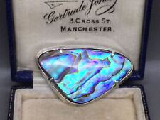 Lovely Modernist Sterling Silver Abalone Brooch Pin with Bee Hallmark
