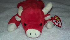 TY RETIRED BEANIE BABY SNORT May 15 1995  RARE RED BULL HAS TAG