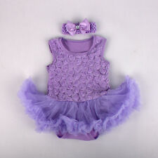 2pcs Infant Baby Girl Toddler Headband+Romper Tutu Party Clothes 6-9M Gift Sets