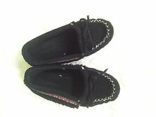 Zerostress Suede Moccasin With Trim Child's Size 13 Black New Girl