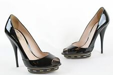 NWOT - Miu Miu - Black Patent Peep-Toe Platform Heel Shoes - Size 8 / 38