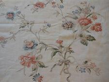 Antique French Sketchbook Floral Bouquet Bows Cotton Fabric ~ Terra Cotta Blue