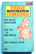 THREE RESTORATION COMEDIES Pan X356 1965 2nd Norman Marshall PB VGC