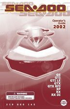 Sea-Doo Owners Manual Book 2002 GTX DI, GTI California & GTI LE California