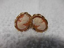 VTG BAL RON 12 KT GF HAND CARVED CAMEO SCREW BACK EARRINGS IN ORIGINAL BOX F3