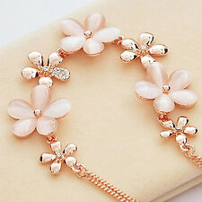 Womens Cute Gold Plated Flower Opal Rhinestone Charm Pendant Chain Necklace
