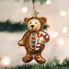 Gingerbread Teddy Bear Glass Ornament Old World Christmas  New in Box