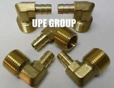 (5 Pieces) 3/8 HOSE BARB ELBOW X 1/2 MALE NPT Brass Pipe Fitting Gas Fuel Water