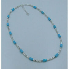 PETITE .925 Sterling Silver Natural Blue Sleeping Beauty Turquoise Necklace