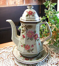 WINTERLING BAVARIA Marktleuthen BROWN PINK FLORAL Tea Coffee Pot w/ Plate *MINT*
