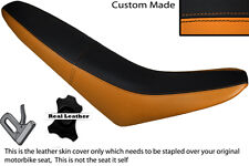 BLACK & ORANGE CUSTOM FITS MZ 125 SM LEATHER DUAL SEAT COVER ONLY