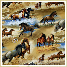 BonEful Fabric FQ Cotton Quilt Brown Blue HORSE Water Scenic Mustang Stallion US