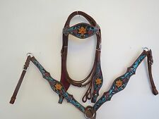 NEW LEATHER WESTERN HEADSTALL BRIDLE BREAST COLLAR TACK SET STRGRN