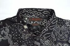 ETRO MILANO SILK ITALY MENS 45 XXL SLIM FIT LONG SLEEVE BUTTON down SHIRT BLACK