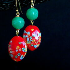 Japanese Glass Millefiori Opaque Red Jade Green Vintage earrings