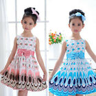 New Children Kids Girls Bow Belt Sleeveless Bubble Peacock Dress Party Clothing
