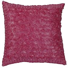 Pink Rose Ribbon 3D Raised Decorative Throw Toss Sofa Pillow Case Cushion Cover