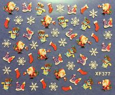 Nail Art 3D Decal Stickers Christmas Snowflakes Santa Snowman Party Hat XF377
