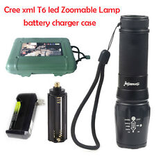 T6 LED 10000Lumen 5-Mode Flashlight Torch Lamp 18650/26650/3*AAA +Charger+Case