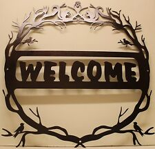 Nature Welcome Sign silhouette metal wall art home decor