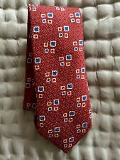 Drake's London Men's Tie Brand New Red Wool & Silk Made In England
