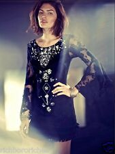 NWT Free People black Embellished Shell Crochet Lace Shift Dress Bell Sleeves 6