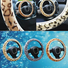 Leopard Plush Car Steering Wheel Cover Anti-slip Car & Truck Part 38cm